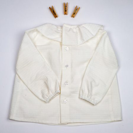 Camisa Volante Nina blanca hueso