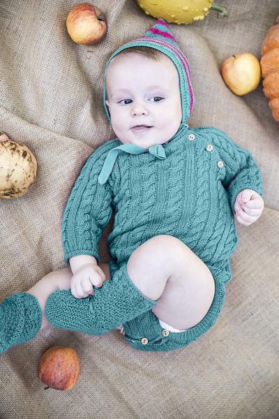 Pelele o body de hilo algodon verde de ilo lilo