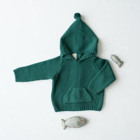 Chaqueta con gorro verde