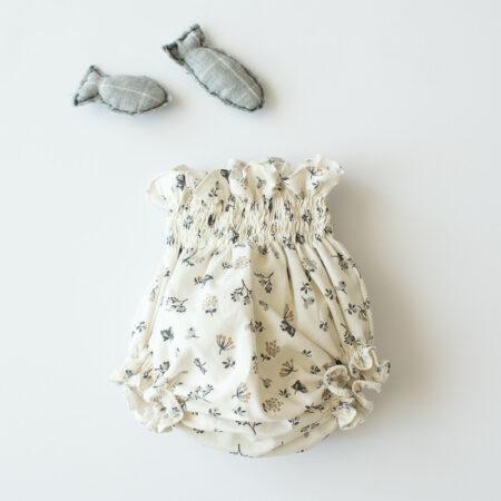 Culotte crema con florecitas grises y mostaza